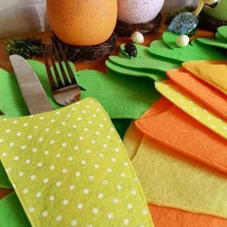 Конверт, чехол (куверт) для столовых приборов в форме морковки. Пасхальный декор, осенний декор