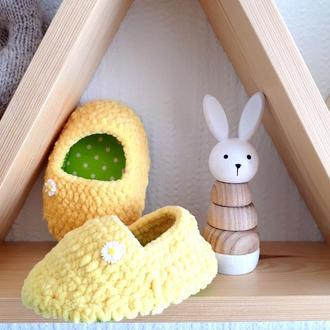 Детские плюшевые желтые комнатные тапочки