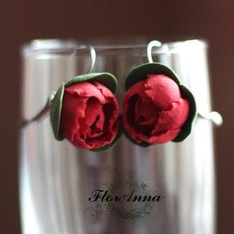 """Серьги цветы """"красные пионы"""""""