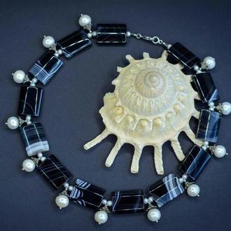 """Дизайнерское украшение с натуральным жемчугом и черным агатом """"Harmony""""☯️"""