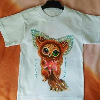 Детская футболка на 5 лет с художественной росписью
