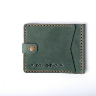 Шкіряний затискач для грошей «Zosh Green»