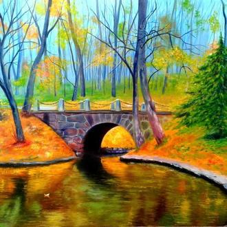 Алек Гросс. Мост в парке, х., м., 80х60 см