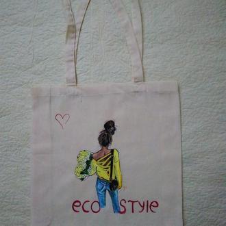 Эко-сумкка с художественной росписью
