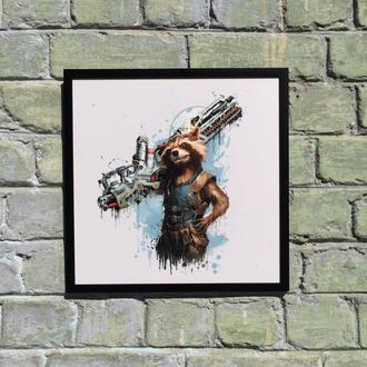 "Постер на ПВХ 3 мм. в рамке ""Ракета Енот"" (Raccoon Rocket)"