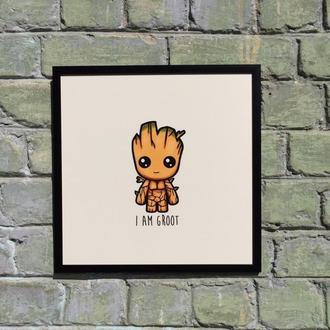 """Постер на ПВХ 3 мм. в рамке """"Грут"""" (Groot)"""
