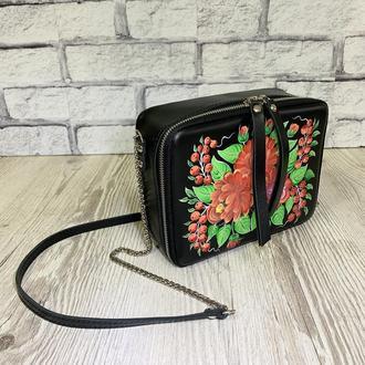 """Женская сумка """"Квадро"""" натуральная кожа черного цвета, ручная роспись, цветы, кроссбоди"""
