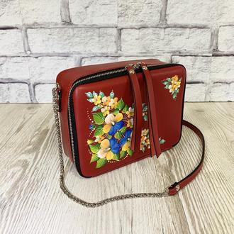 """Женская сумка """"Квадро"""" натуральная кожа красного цвета, ручная роспись, сумка через плечо, кроссбоди"""
