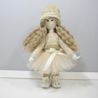 Текстильная кукла Мягкая куколка Кофейно бежевый декор с золотом