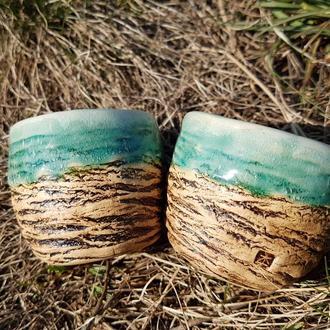 Пара чайных чаш, керамические чашки с бирюзовой поливой