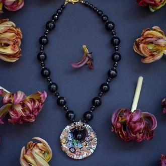 """Дизайнерские ожерелье из натурального черного агата с венецианском подвесом """"Ночь Венеции""""🌌"""