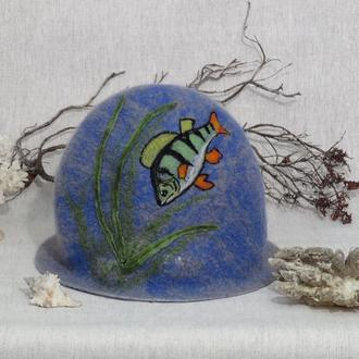 """Валяная шапка для бани """"Окунь"""" Банная шапка Шапка из шерсти Шапка в баню и сауну"""