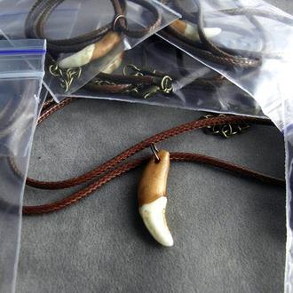 Амулет Волчий зуб натуральный от 25мм коричневый кожаный шнур от 40мм - 02