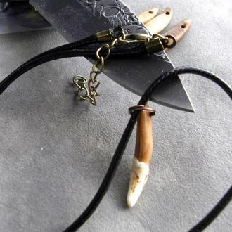 Амулет Волчий зуб натуральный от 25мм черный кожаный шнур от 40мм - 03