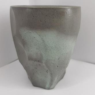 Бетонный бокал для коктейлей, сделанный вручную, стиль Loft - графитовый с бирюзой