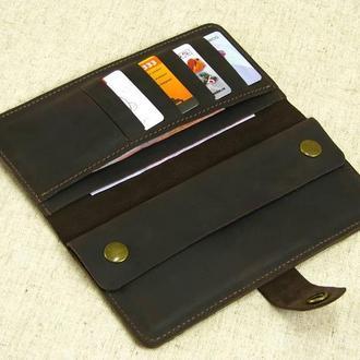 Кожаный мужской кошелек купюрник