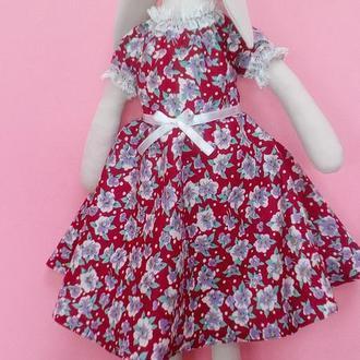 Кукла тильда зайка в платье 50 х годов