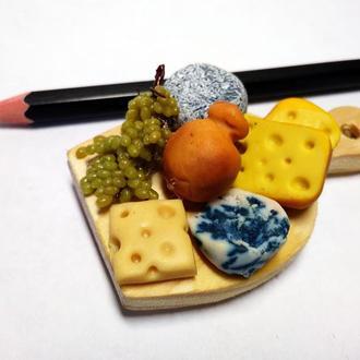 Миниатюрная сырная доска в виде магнита, магнит на холодильник, магнитик