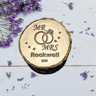 Персонализированная свадебная шкатулка. Коробочка из дерева для колец. Деревянная шкатулка рустик