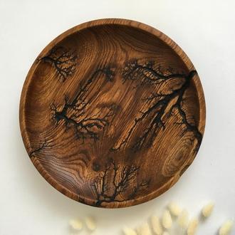 Тарелка из дерева, фруктовниця, тарілка для нарізки