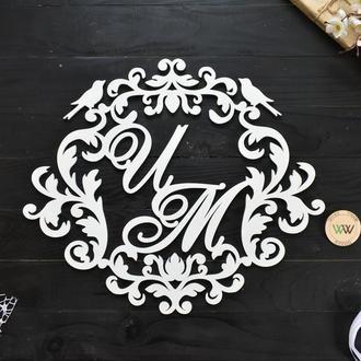 Свадебная монограмма / Инициалы на свадьбу / Семейный герб, из дерева