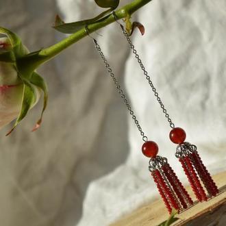 Серьги - цепочки красные с сердоликом и чешским хрусталем ′Восторг′