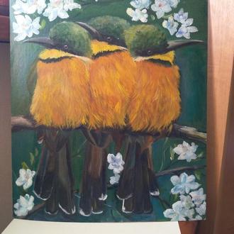 """Картина маслом ,""""птицы весной """""""