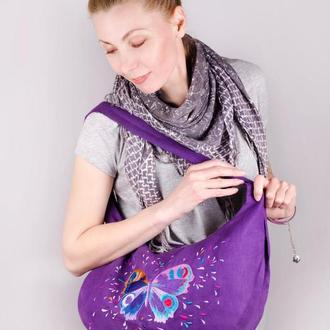 Сумка льняная фиолетовая с вышивкой бабочка. Летняя сумка женская. Бабочка. Эко-торба красивая. Лён