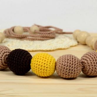 Слингобусы. Вязаные бусы. Желтые коричневые.