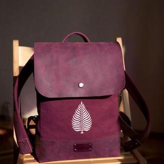 Женский рюкзак с  набойкой из хлопка и натуральной кожи
