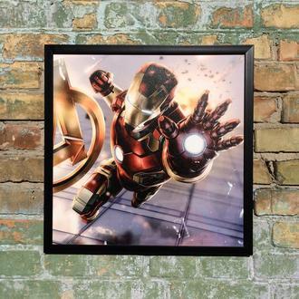"""Постер на ПВХ 3 мм. в рамке """"Железный Человек"""" (Iron Man Atak)"""