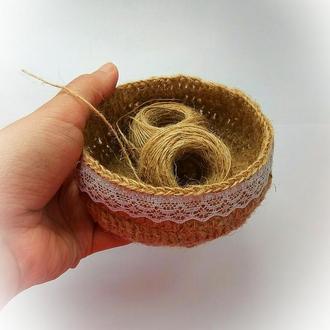 Декоративная корзинка, эко корзина, для пуговиц, для декора