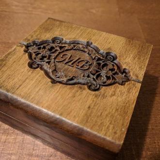 Шкатулка для свадебных обручальных колец из дерева