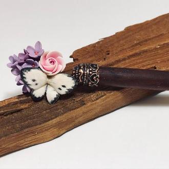 Шпилька для волос деревянная с полимерной глиной Бабочка