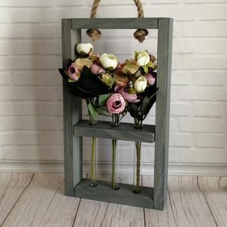 Деревянная рамка для цветов с колбами, пробирками Классик 3к (Антрацит лазурь)