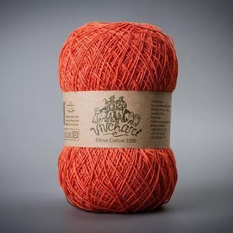 Пряжа для вязания Vivchari Ethno-cotton 1200 метров 021 ярко-морковный