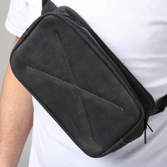 Сумка поясная из натуральной кожи черная belt