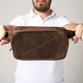 Сумка поясная из натуральной кожи коричневая belt