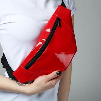 Поясная сумка (бананка) красная sam