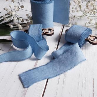 Хлопковые ленты ручного окрашивания для свадебного букета. Серо-голубая лента для букета невесты.