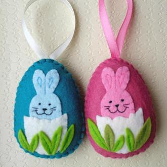 пасхальный декор - писанки из фетра кролик в яйце