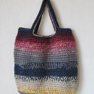 женская вязанная сумка-мешок