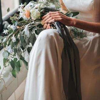 Шелковые ленты окрашивания для свадебного букета. Серая лента для букета невесты.