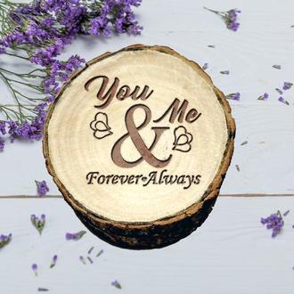 Деревянная свадебеая шкатулка. Коробочка для обручальных колец. Подарок на день Святого Валентина
