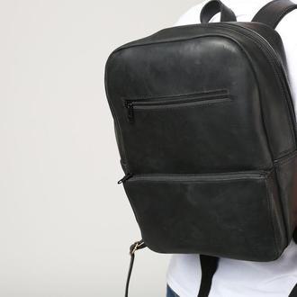 Рюкзак из натуральной кожи формата а4 чёрный