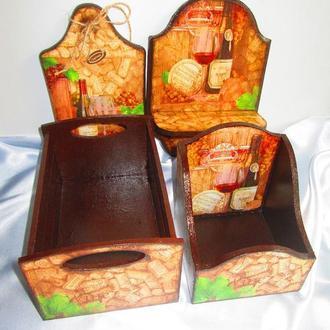 """Набор для кухни """"Wine"""": доска, полочка с вешалкой для полотенец, ящик. корб для специй"""