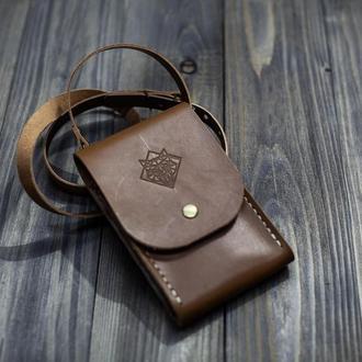 Шкіряний чохол-сумка для мобільного