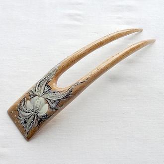 """Заколка деревянная для волос с оригинальной росписью """"Нежность"""""""
