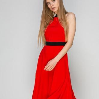 Платье кораллово-красное