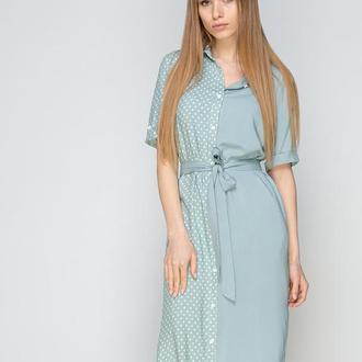 Платье-рубашка комбинированное